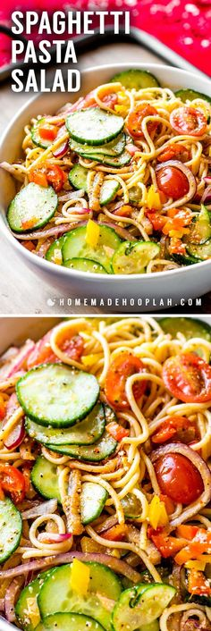 This cold spaghetti pasta salad is a cookout classic that packs enough flavor to be a main dish or side dish. Yummy Pasta Recipes, Pasta Salad Recipes, Side Dish Recipes, Dinner Recipes, Cooking Recipes, Pasta Dishes, Food Dishes, Main Dishes, Side Dishes
