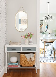 For Our Home 5 tips to refresh your small entryway — Sunny Circle Studio Buying The Engagement Ring Small Space Living, Small Spaces, Entryway Decor, Entryway Tables, Small Console Tables, Narrow Table, Narrow Entryway, Entryway With Mirror, Entry Foyer