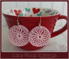 Lacy Hoop Earrings A Free Crochet Pattern | The Purple Poncho