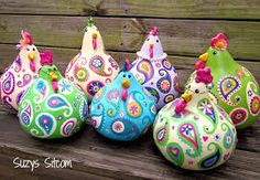 chickens gourd art paisley painted gourds lime by SuzysSitcomStoreTutorial for creating sweet little gossipy paisley chickens out of dried gourds.Want to boost your Etsy Sales? acrylics paints and sealerSuzy's Artsy Craftsy Sitcom – Crafts, Tutor Creative Mother's Day Gifts, Diy And Crafts, Arts And Crafts, Chicken Crafts, Painted Gourds, Gourd Art, Paisley, Craft Projects, Artsy