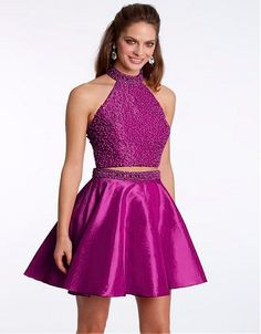 Sexy Two Pieces Short Cocktail Dresses Mini A Line High Neck Beaded Cocktail Party Gowns Backless Robe De Prom Cocktail 2016