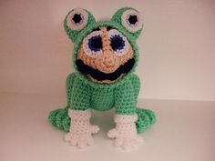 """Mario's Frog Suit (18cm tall) - Free Amigurumi Pattern - PDF File - Click """"download"""" or """"free Ravelry download"""" here: http://www.ravelry.com/patterns/library/marios-frog-suit"""