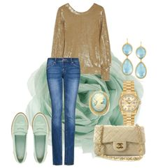 Gold sequin sweater and mint accessories lovemeinwhite.tumblr.com