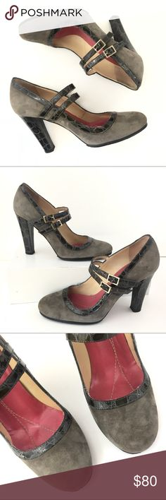 c9a33f60e984 Kate Spade gray suede leather Mary Jane heels 6.5 Kate Spade gray genuine  suede leather chunky
