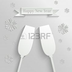 Abstract Background with Two Glasses of Champagne and Snowflakes celebrates New Year! #2014
