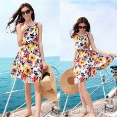 Fashion Sleeveless Floral Print Bohemia Casual Beach Summer Mini Dress Sundress