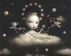 """Nicoletta Ceccoli"""" The Moon Princess"""", Acrylic, Graphite on Paper"""