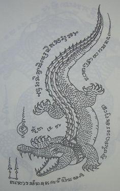sak yant meaning and designs Thai Tattoo, Khmer Tattoo, Alligator Tattoo, Thailand Tattoo, Sak Yant Tiger, Krokodil Tattoo, Misaki Kawai, Sak Yant Tattoo, Maori Tattoos