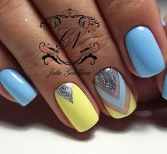 Accurate nails Blue and yellow nails Cute nails Geometric nails Nails ideas 2018 Nails trends 2018 Spring nail art Spring nails 2018 Nail Art Design Gallery, Best Nail Art Designs, Manicure Nail Designs, Nail Manicure, Manicure Ideas, Nails Design, Manicure Colors, Nail Polish, Blue Nails