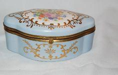 """Antique vintage Powder Blue Marked """"Limoges Hand Painted"""" Floral Dresser Box"""