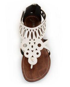 225a3ccc54e6 GoMax Berdine 41 White Cutout Cage Thong Sandals Dressy Sandals