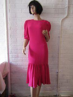 ff7a94e3ef2 FRANK USHER Dress. Vintage 1980 s Frank Usher Dress. Dark Pink Vintage Dress.  Half
