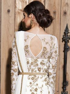 White hand embroidered anarkali with a stretch satin churdiar and an embroidered dupatta. India Fashion, Ethnic Fashion, Asian Fashion, Fashion Beauty, Indian Attire, Indian Ethnic Wear, Pakistani Outfits, Indian Outfits, Desi Clothes