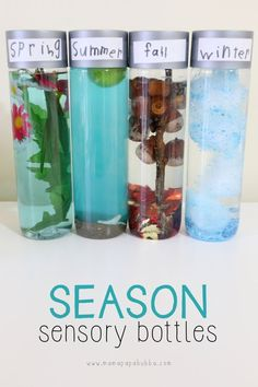 Sensory Bottles Season Sensory Bottles for Toddlers and Preschoolers!Season Sensory Bottles for Toddlers and Preschoolers! Preschool Science, Preschool Classroom, Toddler Preschool, Classroom Activities, In Kindergarten, Preschool Activities, Science Art, Toddler Toys, Science Experiments