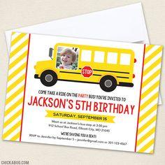 School Bus Party Photo Invitations - Professionally printed *or* DIY printable