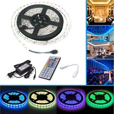 150 LEDs Waterproof Strip Adhesive Lights Color Changing W/ IR Remote Control String Lights, Ceiling Lights, Novelty Lighting, Luz Led, Led Strip, Strip Lighting, Fairy Lights, Kit, Light Colors