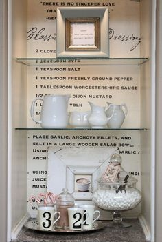 My Sweet Savannah - what a fun idea to print a favorite or heirloom recipe on the back of the cabinet/shelves