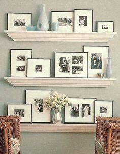 Shelves like this would be nice in the den with old b/w photos displayed