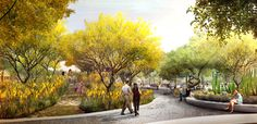 West 8 Urban Design & Landscape Architecture / news / Colwell Shelor + West 8 + Weddle Gilmore Selected to Redesign Arizona's Mesa City Center Landscape Concept, Landscape Plans, Urban Landscape, Landscape Design, Landscape Architecture Perspective, Architecture Drawings, Architecture Photo, Landscape Arquitecture, Render Image