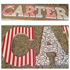 Mosh posh scrapbook paper onto wood letters