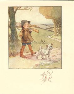 1920's Anne Anderson Vintage Childrens Print Young Boy Carrying Shotgun Over Shoulder Walking With Dog Down Country Lane.