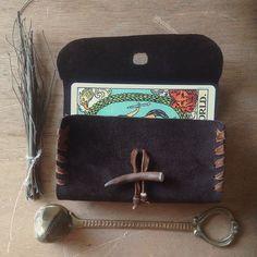 tarot bag upcycled leather tarot case tarot pouch by gorimbaud