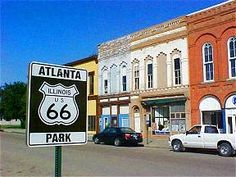 This park celebrates the heritage of Route 66 in Atlanta, the town that is known as the geographic center of Illinois on Old Route 66. Description from theroadwanderer.net. I searched for this on bing.com/images