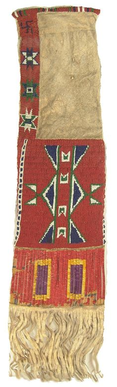 "Sioux Beaded Pipebag: Beautiful sinew sewn & lazy stitch beaded, two-sided, deep red buckskin bag with quilled parfleche slats, long fringe, fylfots & Valero stars, & bead trim. 32"" x 8"" Circa: Late 1800s"