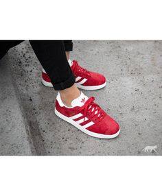 223172a973b Adidas Gazelle Womens Trainers In Red White Grey Trainers