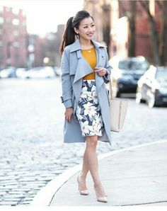 dbd920dffa classic professional outfit    gray trench coat