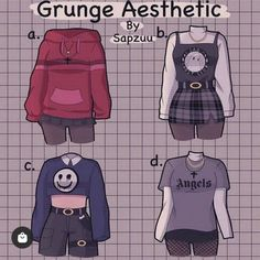 Cute Art Styles, Cartoon Art Styles, Anime Outfits, Grunge Outfits, Teen Fashion, Fashion Art, Kleidung Design, Drawing Anime Clothes, Clothing Sketches