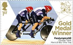 Paralympics Gold Medal Winner stamp - Cycling: Track Men's B 1km Time Trial, Neil Fachie and Barney Storey.