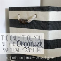 Don't waste money on expensive organizing supplies ~~ You can organize practically anything with a simple basket from the dollar or craft store!