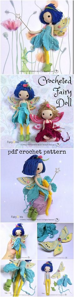 Oh! this crochet doll pattern is ADORABLE! Such intricate detail! Wow this loo… Oh! this crochet doll pattern is ADORABLE! Such intricate detail! Wow this looks like an amazing amigurumi toy to make! Crochet Fairy, Cute Crochet, Crochet Crafts, Crochet Projects, Baby Knitting Patterns, Amigurumi Patterns, Doll Patterns, Crochet Doll Pattern, Crochet Dolls