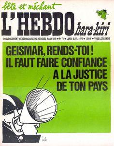 L'Hebdo Hara-Kiri - N° 71 - Lundi 8 Juin 1970 - Couverture de Gébé