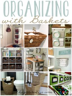 Organzing with baskets is a fun and practical way to help you get and stay organized. Whether it's keeiping your office, craft room or just your living spaces organized, using baskets can help with the clutter. Plus they look nice in any room.