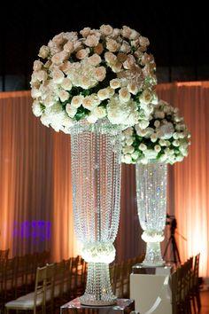 Swarovski Crystal Flower Foundation | Photography: Bob & Dawn Davis Photography. Read More: http://www.insideweddings.com/weddings/million-dollar-listing-miami-star-chad-carrolls-cleveland-wedding/732/