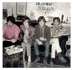 At home with Paul McCartney at his 7 Cavendish Rd, London home in 1967 with Mick Jagger (purple shirt), Kenney Jones from Faces and John