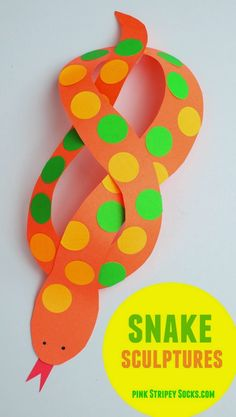 Twisty snake sculpture- Easy kids animal craft with printable template included