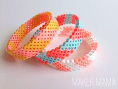 Hama Bead Bracelet DIY How to make cute hama bead bracelets - they are so colorful and easy! Have you ever tried hama beads, aka perler beads? This unique bracelet DIY will give you a chance to try them - so fun and easy! Perler Bead Designs, Hama Beads Design, Hama Beads Patterns, Beading Patterns, Perler Beads, Fuse Beads, Art Perle, Motifs Perler, Iron Beads