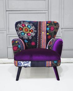 Items similar to Patchwork armchair with Suzani and purple velvet fabrics on Ets… Ev Aksesuarları – home accessories Bohemian Furniture, Funky Furniture, Unique Furniture, Home Decor Furniture, Painted Furniture, Colorful Chairs, Cool Chairs, Funky Home Decor, Upholstered Furniture