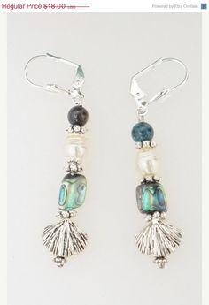 ON SALE Jewelry, Earrings, Silver Tone Earrings, Abalone and Pearl Earrings, Dangle Earrings, Silver Shell Earrings, Prom Jewelry