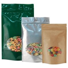 Stand up pouches with a window are some of the hottest pouches on the market that help sell your product. Our custom solutions allow many colors and sizes to be purchased at the same time