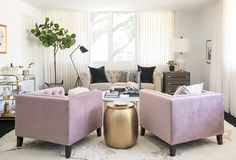 Actress Shay Mitchell and Decorist Elite Designer Stefani Stein chose The Shade Store's Ripple Fold Drapery in Linen Blend for Shay's chic office makeover. Shay Mitchell, Shabby Chic Target, Hollywood Bedroom, Vintage Sofa, Office Makeover, Office Interiors, Grey Interiors, Elle Decor, Interiores Design