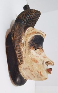This is a Punu Gabon handmade carved mask from West Africa. Type: Carved Punu Gabon dance mask. Country: The Punu Tsengi subgroup reside along the Ngomie River; at the border region Gabon West Congo. | eBay!