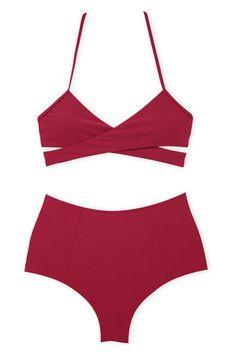 556a40afdd #red Solid Wrap Halter High Waist #Bikini Set - Cobunny Bikini Tops, Bikini