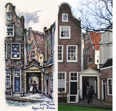 Begijnhof, Amsterdam Anton Pieck, Amsterdam Art, Vintage Illustrations, Birth, Om, Anna, Mansions, House Styles, Places