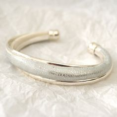 White Silver Leaf Crackle Effect Bangle  by ClareBashamDesigns, £27.00
