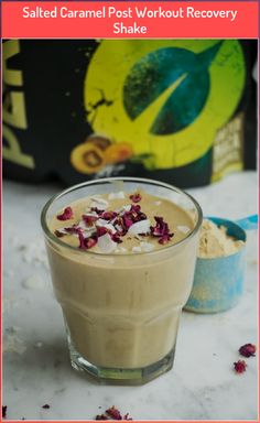 Salted Caramel Post Workout Recovery Shake #caramel #Post #recovery #salted #shake #workout Good Protein Snacks, High Protein Smoothies, Protein Smoothie Recipes, Breakfast Smoothie Recipes, Shake Recipes, Post Workout, Recovery, Food To Make, Caramel