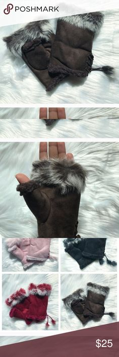 Faux Gloves: Baby, it's cold outside! Fancy fur tipped gloves! Be cute, chic and not cold! 💁🏽💁🏼💁🏻👛💜 Accessories Gloves & Mittens